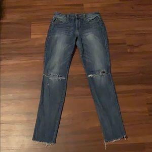Joe's distressed mid-rise skinny ankle jeans